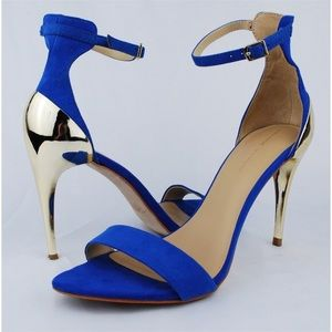 Royal Blue with Gold Sandal Heel